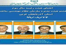 نتایج انتخابات هیات رئیسه جدید نظام مهندسی ساختمان استان آذربایجان غربی